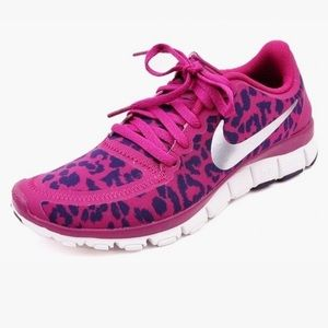 nike free 5.0 v4 leopard cheetah purple hair